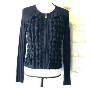 Vince Camuto black zip up loop sweater small
